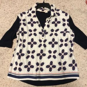Tory Burch Lady Bugs silk cotton blouse top L